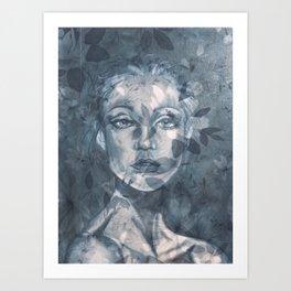 Cerulean Blue Portrait girl Art Print