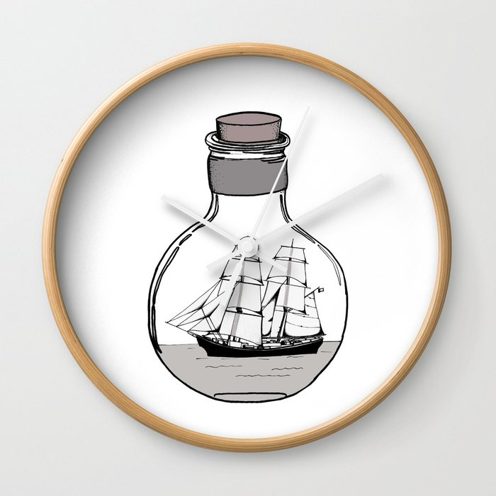 The ship in the glass bulb . Artwork Wall Clock by vickonskey | Society6