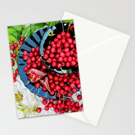 Cherries on black plates Stationery Cards