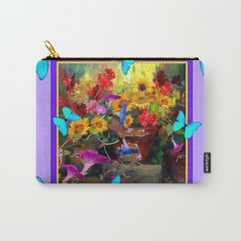 Blue Butterflies Purple Floral Still Life Painting Carry-All Pouch