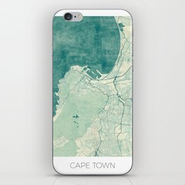 Cape Town Map Blue Vintage iPhone Skin
