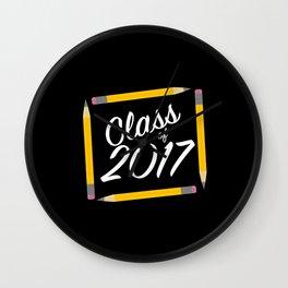 Class of 2017, white font Wall Clock