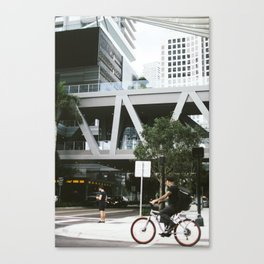 Miami Street Cycling Canvas Print