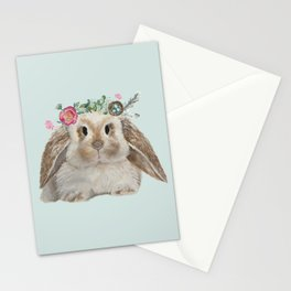 Spring Bunny with Floral Crown Stationery Cards
