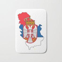 Serbia Map with Serbian Flag Bath Mat