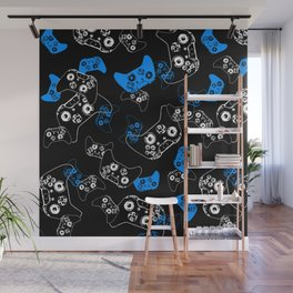 Video Game Blue on Black Wall Mural