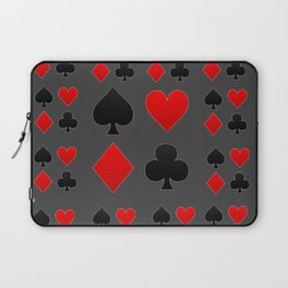 RED & BLACK PLAYING CARD  ART ON CHARCOAL GREY Laptop Sleeve