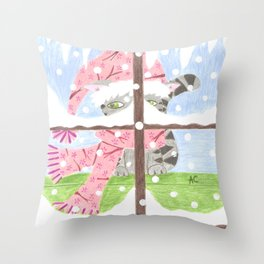 Christmas Tabby cat looking out the window Throw Pillow