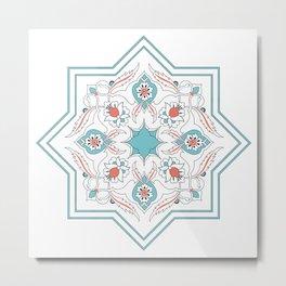 Turquoise Floral Tile Art Metal Print