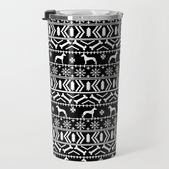 Great Dane fair isle christmas holiday black and white minimal pattern gifts for dog lover Travel Mug