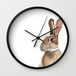 Rabbit in Grass Watercolor Wall Clock