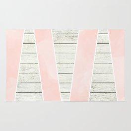 Modern blush pink watercolor triangles stripe wood Rug