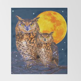 TWO OWLS IN FULL MOONSCAPE NIGHT Throw Blanket