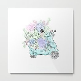 flowers and scooter Metal Print