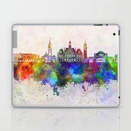 Limoges skyline in watercolor background Laptop & iPad Skin