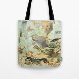 SEA CREATURES COLLAGE, OCEAN ILLUSTRATION Tote Bag