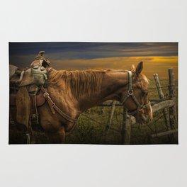 Saddle Horse on the Prairie Rug