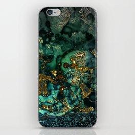 Gold Indigo Malachite Marble iPhone Skin