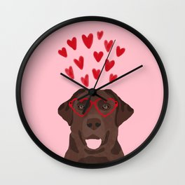 Chocolate Lab love heart glasses cute pet gifts valentines day labrador retriever Wall Clock