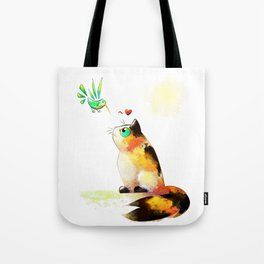 The cat and the hummingbird Tote Bag