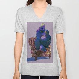 animals in chairs #19 The Gorilla on Chintz Unisex V-Neck