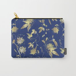Elegant Gold Blue Passiflora Pattern Carry-All Pouch