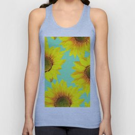 Sunflowers on a pastel green backgrond - #Society6 #buyart Unisex Tank Top