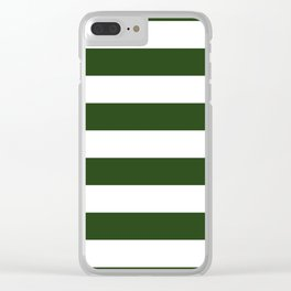 Large Dark Forest Green and White Cabana Tent Stripes Clear iPhone Case