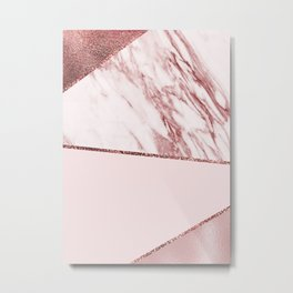 Spliced mixed pinks rose gold marble Metal Print