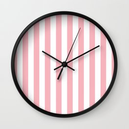 Vertical Coral Stripes Pattern Wall Clock