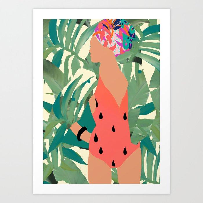 Jungle Pop! Pacific Melon Textile Collage Art Print