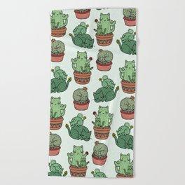 Cacti Cat pattern Beach Towel