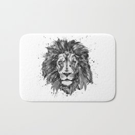 Black and White Lion Head Bath Mat
