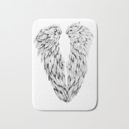 Black and White Angel Wings Bath Mat