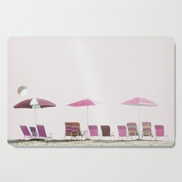 Pink and Plum Beach Umbrellas Cutting Board