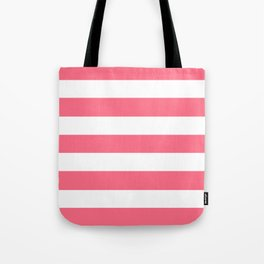 Wild watermelon - solid color - white stripes pattern Tote Bag