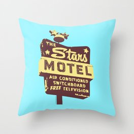 Seeing Stars ... Motel ... (Blue Background) Throw Pillow