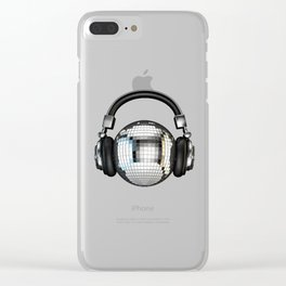 Headphone disco ball Clear iPhone Case