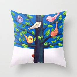 Birdy Tree Throw Pillow