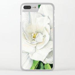 Watercolor Gardenia Clear iPhone Case
