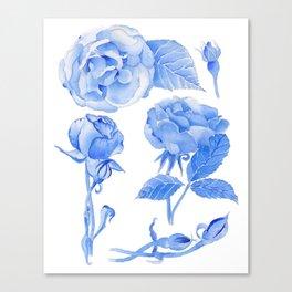 Blue Roses Watercolor Canvas Print
