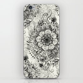 Messy Boho Floral in Charcoal and Cream  iPhone Skin