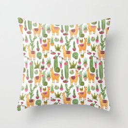 watercolor alpaca clique with cacti and succulents Throw Pillow