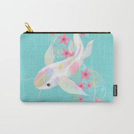 Koi Fish Watercolor Cherry Blossom Carry-All Pouch