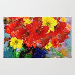 DECORATIVE RED-YELLOW AMARYLLIS  FLORALS ART Rug