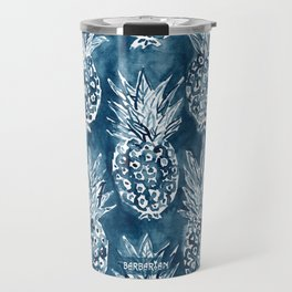 PINEAPPLE STANCE Indigo Boho Watercolor Travel Mug