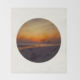 Mid Century Modern Round Circle Photo Graphic Design Orange Sunset Above Beach Throw Blanket