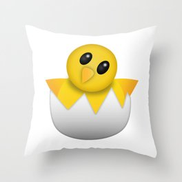 Hatching baby chick Emoji Throw Pillow