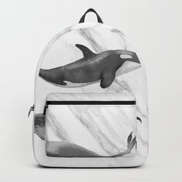 Ocean Whales Marble Black and White Backpack