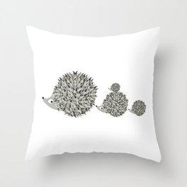 Hedgehogs family Throw Pillow